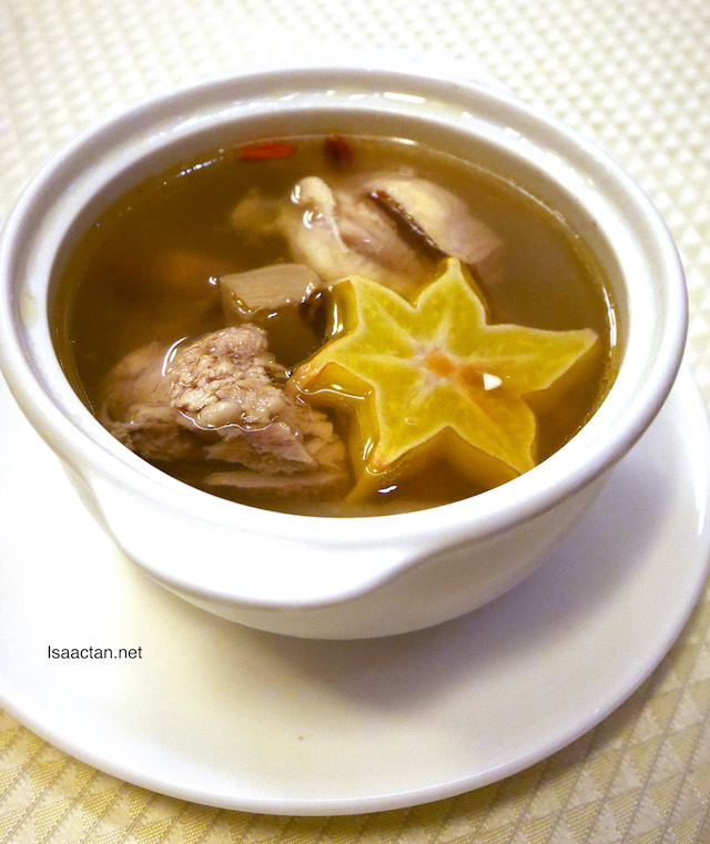 Nourishing Double-Boiled Chicken Soup with Whelk, Chinese Herbs and Star Fruit