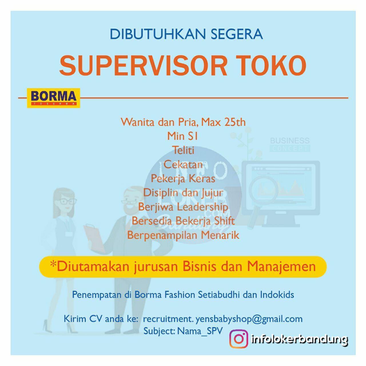 Lowongan Kerja Borma Fashion dan Indokids Baby & Kid Mart Setiabudhi Bandung Februari 2018