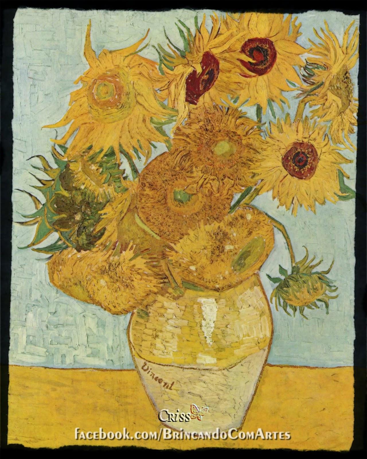 """""""Doze Girassóis Numa Jarra"""", de 1888, é um óleo sobre tela do pintor holandês Vincent van Gogh, de 1888"""