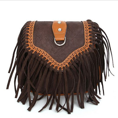 Retro Engraving and Fringe Design Crossbody Bag For Women