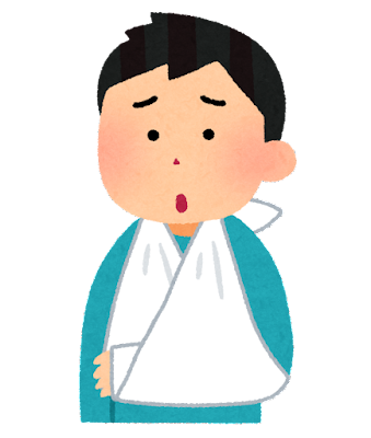 三角巾で腕をつる人のイラスト(男性)
