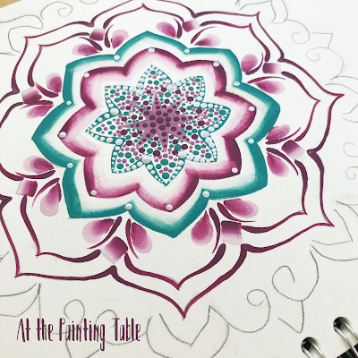 A work in progress.... beautiful handpainted mandala using painting techniques from You Can Folk It