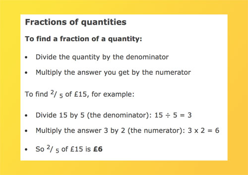 Fractions of quantities on BBC Bitesize