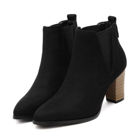 Chunky Point Toe Ankle Boots – Price:$52.00