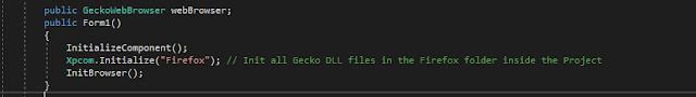 Init GeckoFX - Declare GeckoWebBrowser variable