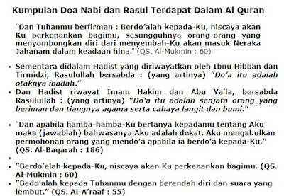 Kumpulan Doa Nabi dan Rasul Terdapat Dalam Al Quran