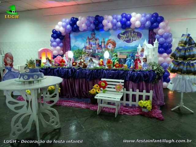 Decoração para festa infantil tema Princesa Sofia - Mesa decorada luxo