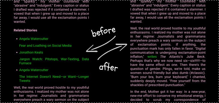Article cleaning: before&after.
