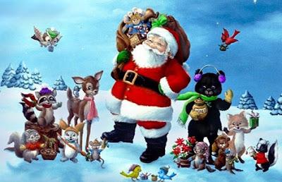 Dibujo de Papa Noel o Santa Clauss en invierno acompañado de animales