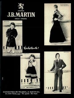 propaganda J.B. Martin - 1977;  moda outono inverno anos 70; moda anos 70; propaganda anos 70; história da década de 70; reclames anos 70; brazil in the 70s; Oswaldo Hernandez