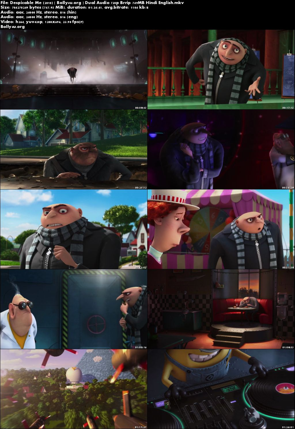 Despicable Me 2010 BRRip 300MB Hindi Dual Audio 480p Download