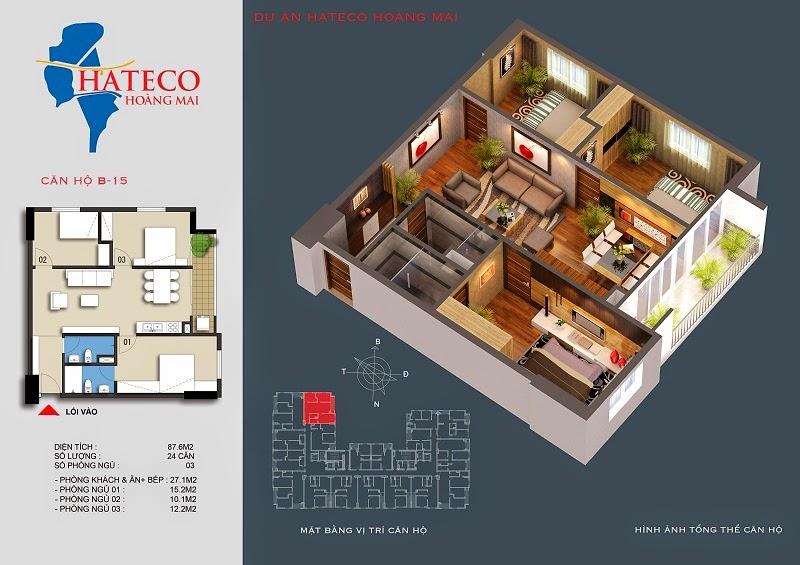 mặt bằng chung cư Hateco Hoàng Mai căn hộ B2615