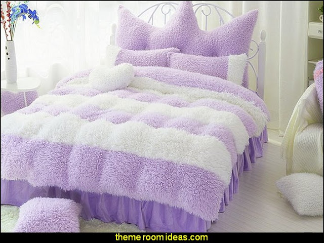 Purple and White Color Block 4-Piece soft furry Velvet Duvet Cover Set