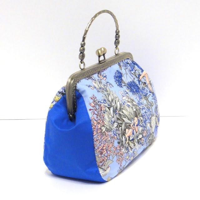 Женская сумка синяя Фея незабудка Фигурный фермуар - ручная работа, один экземпляр. Доставка почтой или курьером.