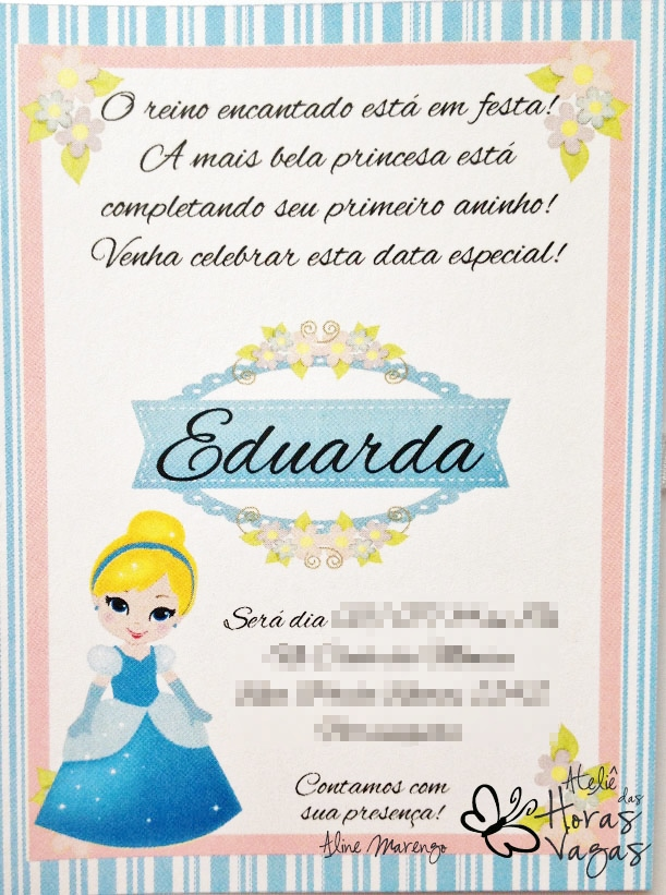 convite artesanal aniversário infantil princesas disney cinderela menina 1 aninho azul branco rosa