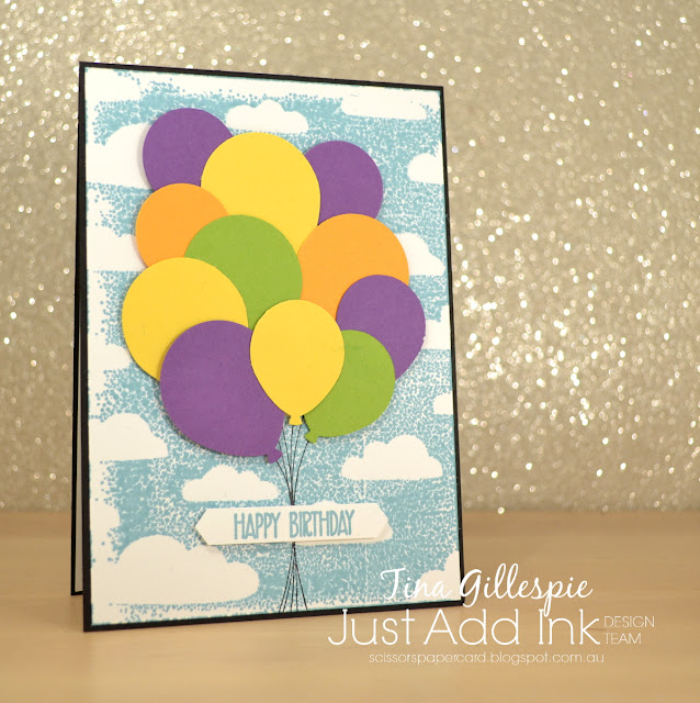 scissorspapercard, Stampin' Up!, Just Add Ink, Pattern Party Masks, Sunshine Sayings, Picture Perfect Birthday, Balloon Celebrations