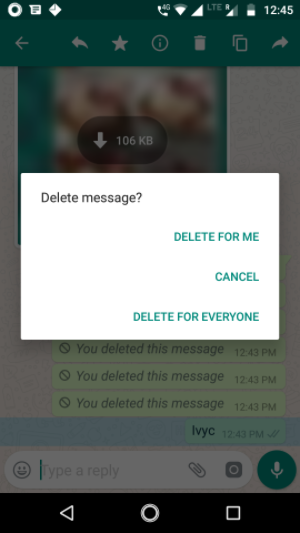 WhatsApp; Delete For Everyone