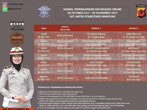 Jadwal SIM Keliling Online Polrestabes Bandung Bulan November  2017