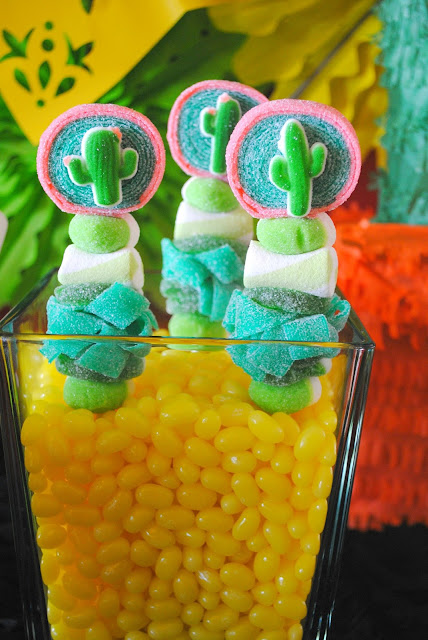 Jelly Belly jelly beans add pops of color to candy kabobs at this Fiesta party