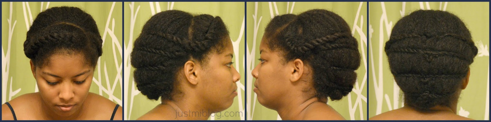 A combination of a two strand twist and flat twist protective hairstyle for natural hair.