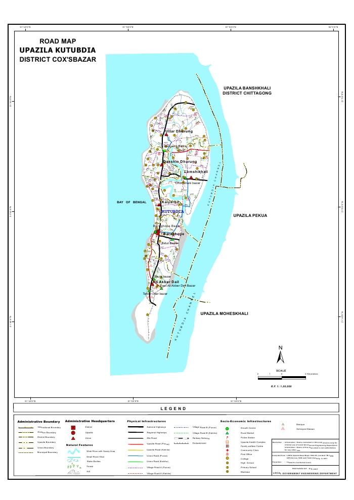 Kutubdia Upazila Road Map Cox's Bazar District Bangladesh