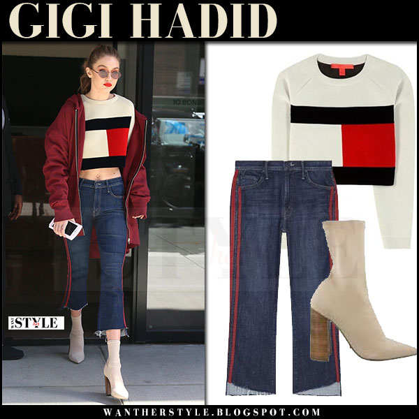 Gigi Hadid in cream flag sweatshirt, cropped jeans mother insider and beige ankle boots tony bianco diddy what she wore may 12 2017