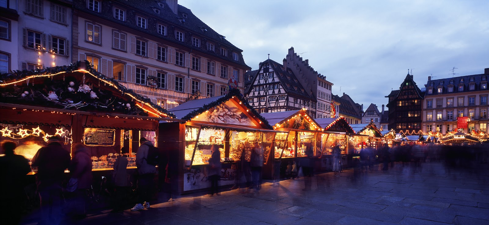 Strasbourg's Place de la Cathédrale in France is lined with market chalets brimming with gifts and tasty treats.