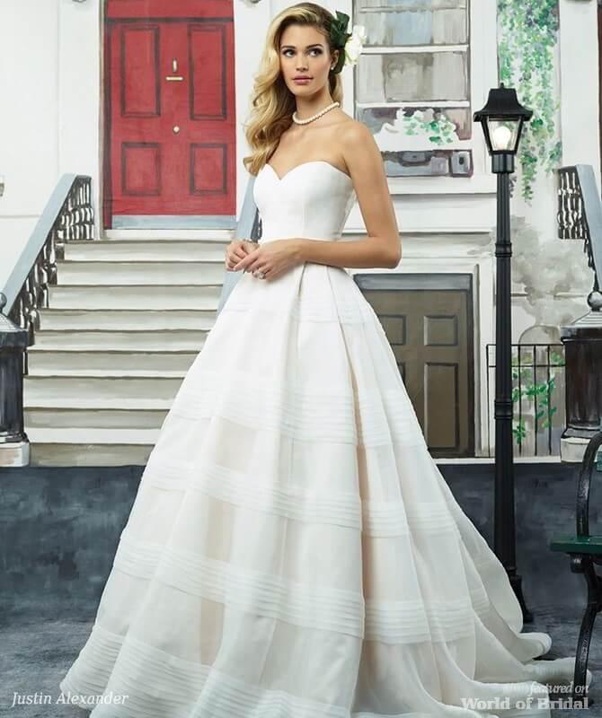 8ec834553d Justin Alexander Spring 2018 Tiered Organza Ball Gown with Cummerbund