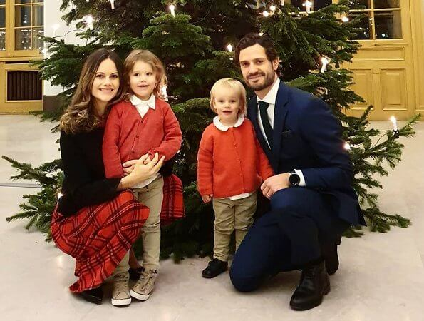 Prince Carl Philip, Princess Sofia and their children Prince Alexander and Prince Gabriel congratulated everybody's Christmas
