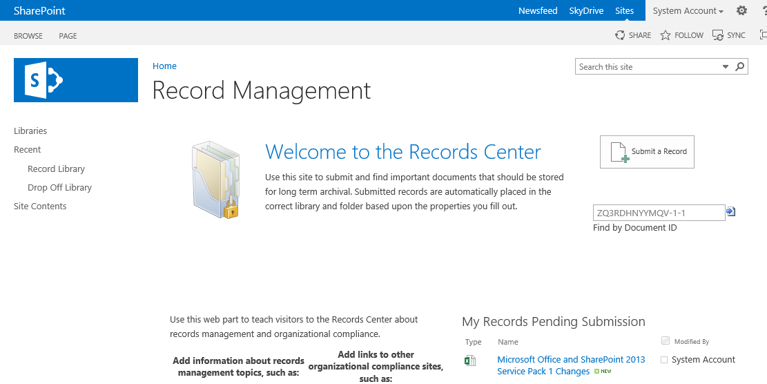 how to create record center in sharepoint 2013