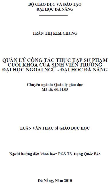 Quản lý công tác thực tập sư phạm cuối khóa của sinh viên trường đại học ngoại ngữ - đại học Đà Nẵng