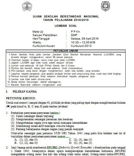 Soal Dan Kunci Jawaban Usbn Ppkn Smp Kurikulum 2013 Tahun Pelajaran 2018 2019 Didno76 Com