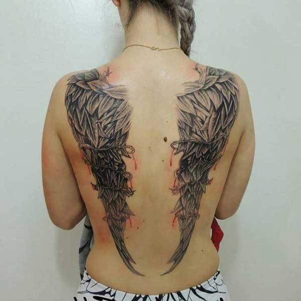 wing tattoos on back