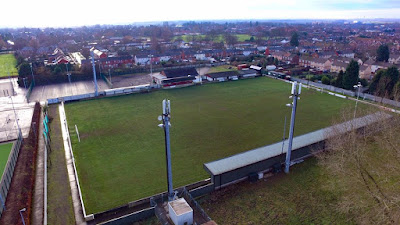 An unusual bird's eye view of Brigg Town Football Club's Hawthorns ground by Neil Stapleton