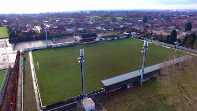 An unusual bird's eye view of Brigg Town Football Club's Hawthorns ground by Neil Stapleton