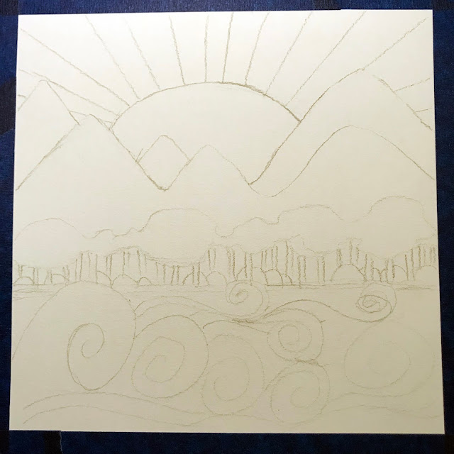 rough sketch for my first landscape in Around the World Through Art, Alice Hendon