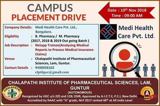 Medi Health Care Pvt. Ltd Campus Drive For B.Pharm, M.Pharm Freshers at 10 November
