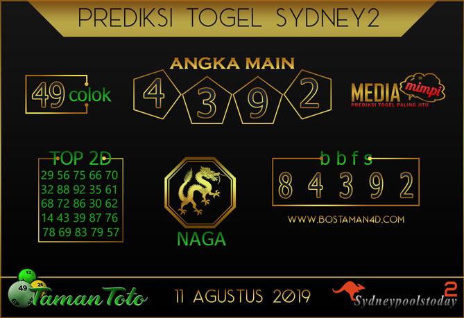 Prediksi Togel SYDNEY 2 TAMAN TOTO 11 AGUSTUS 2019