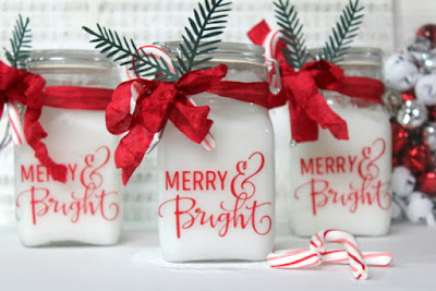 SRM Stickers Blog - Vinyl Over Glass By Shantaie Fowler - #christmas #gift #jar #vinyl #DIY