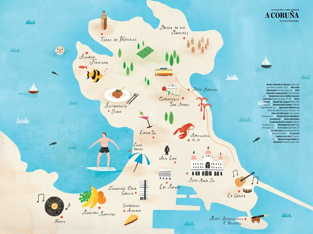 Map Of Spain La Coruna.La Coruna Tourism Map Map Of Spain Tourism Region And Topography
