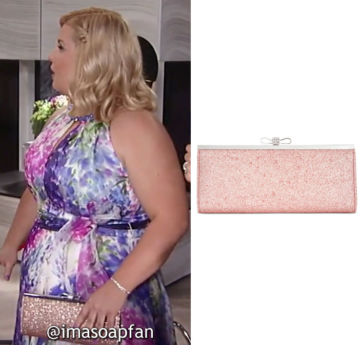 Amy Driscoll, Risa Dorken, Pink Glitter Clutch, INC International Concepts, Nurses Ball, GH, General Hospital