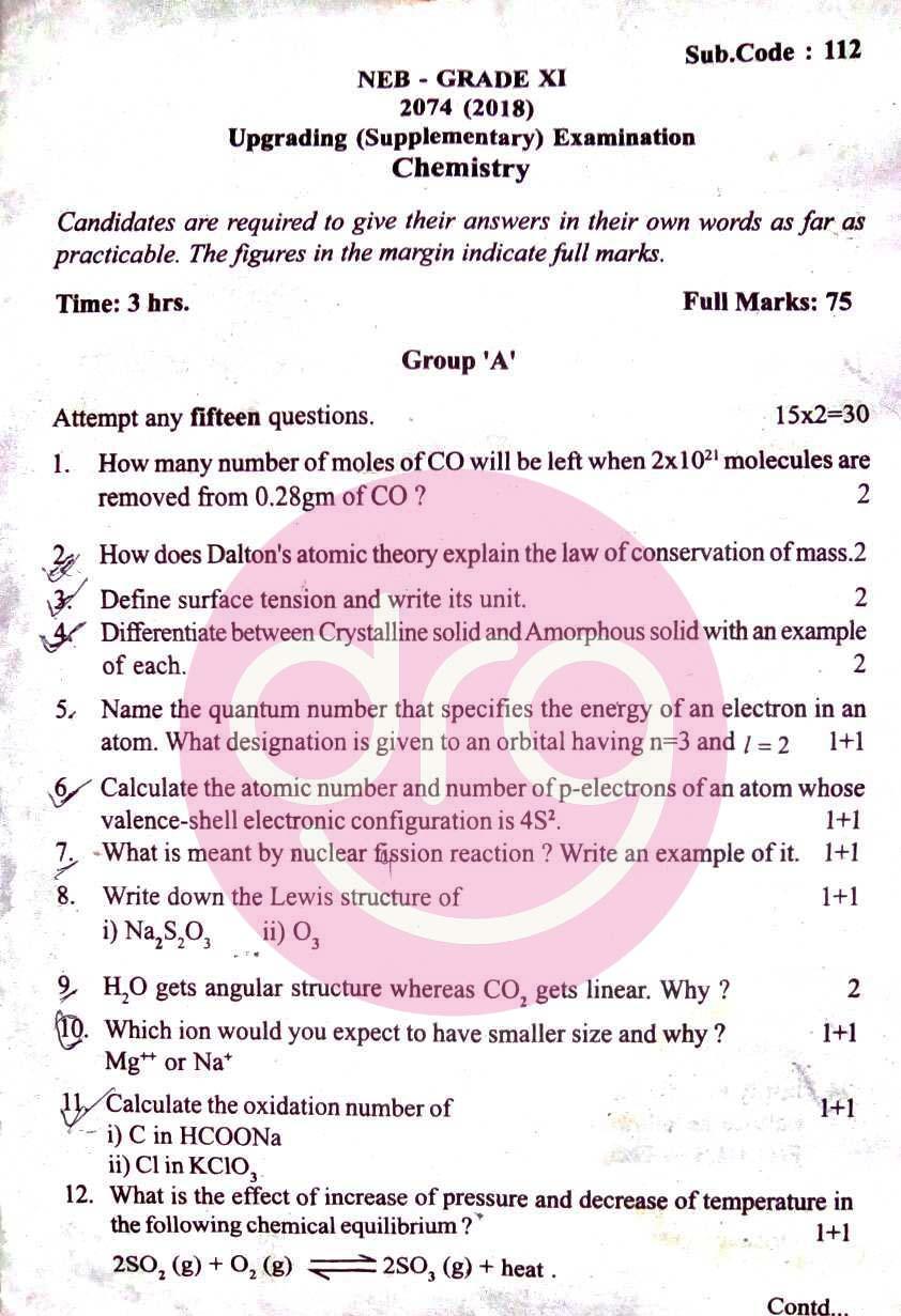 Chemistry | Grade XI | Upgrading/Supplementary Examination
