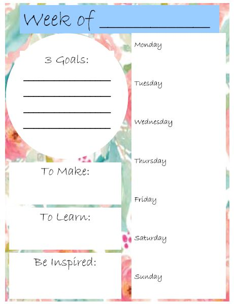 Free Weekly Planner Printable - Sewing Project Planner - Weekly