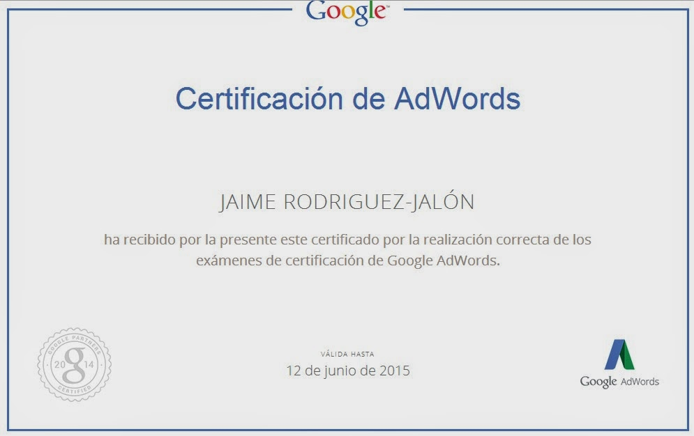 Jaime Jalon Certificado Google AdWords™