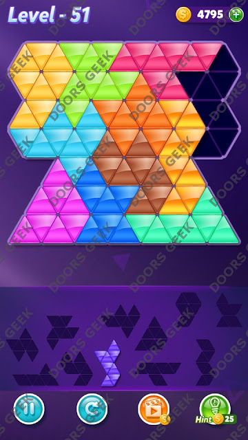 Block! Triangle Puzzle Challenger Level 51 Solution, Cheats, Walkthrough for Android, iPhone, iPad and iPod