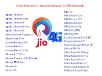 how to activate Reliance Jio 4G SIM,how to use Reliance Jio 4G SIM in any phone,These Phones will support Reliance Jio 4G SIM Network,VoLTE-capable phones for Reliance Jio SIM,phones support reliance jio sim,which phone support reliance jio sim,4g support phone,android phone,reliance jio sim for samsung,reliance jio sim for redmi,reliance jio sim for motorola,how to use free internet in phone,tips & tricks,apple iphone,how to crackt,hike,LTE 4G VoLTE-capable phones for Reliance Jio SIM  Click here for more detail...    Apple iPhone 6 Apple iPhone 6 Plus Apple iPhone 6S Apple iPhone 6S Plus Apple iPhone SE Asus ZenFone Pegasus 3 BlackBerry Priv Coolpad Mega 2.5D Coolpad Note 3 Coolpad Note 3 Lite Gionee F103 Pro Gionee Pioneer P5L (2016) Gionee M5 Plus Gionee S6 Honor 5A HTC 10 HTC Desire 524 HTC Desire 526 HTC Desire EYE HTC J butterfly HTC One (M8) HTC One M9 Huawei Ascend D2 LTE Huawei Ascend P7 Huawei Google Nexus 6P Infocus M370 Intex Aqua 4G Strong Intex Aqua Power 4G Intex Aqua Secure Intex Aqua Shine 4G Intex Cloud String HD Karbonn Aura Power Karbonn Quattro L55 HD Lava A71 4G Lava A88 Lava X38 Lava X46 LeEco Le 2 LeEco Le 2 Pro Lenovo A6000 Plus Lenovo A6600 LG G Flex LG G Flex 2 LG G Pro LG G2 LG G3 LG G4 LG Google Nexus 5X LG isai VL LG K10 LTE LG K7 LTE LG Optimus GX LG Optimus LTE 2 LG Optimus LTE III LG Optimus Vu II LG Spirit LTE LG Stylo/ LG Stylus LG Stylus 2 LG X cam Lumia 550 Lumia 640 Lumia 640XL Lumia 735 Lumia 830 Lumia 950 Lumia 950XL Moto G (Gen. 3) Moto G4 Moto G4 Plus Motorola Google Nexus 6 Nextbit Robin Oneplus 3 Oppo A59 Oppo F1 Oppo F1 Plus Panasonic Eluga A2 Panasonic Eluga Arc Panasonic Eluga Arc 2 Panasonic Eluga I2 Panasonic Eluga I3 Panasonic Eluga Note QiKU Q Terra Samsung Galaxy A5 (2016) Samsung Galaxy A7 (2016) Samsung Galaxy A7 Samsung Galaxy Avant Samsung Galaxy Core Prime Samsung Galaxy Golden Samsung Galaxy Grand Samsung Galaxy J Max tablet Samsung Galaxy J2 Samsung Galaxy J5 Samsung Galaxy J7 Samsung Galaxy Light Samsung Galaxy On5 Samsung Galaxy On7 Samsung Galaxy Note 10.1 LTE Samsung Galaxy Note 3 Samsung Galaxy Note 4 Samsung Galaxy Note 5 Samsung Galaxy Note Edge Samsung Galaxy Note II LTE Samsung Galaxy Pop Samsung Galaxy Round Samsung Galaxy S III LTE Samsung Galaxy S4 Samsung Galaxy S4 mini LTE Samsung Galaxy S4 Zoom Samsung Galaxy S5 Samsung Galaxy S5 Active Samsung Galaxy S6 Samsung Galaxy S6 Samsung Galaxy S6 Edge+ Samsung Galaxy S7 Samsung Galaxy S7 Samsung Galaxy Win Samsung Z2 Sony Xperia A4 Sony Xperia M4 Aqua Dual Sony Xperia SP Sony Xperia Z2 Sony Xperia Z2 Tablet Sony Xperia Z3 Sony Xperia Z3 Compact Sony Xperia Z4 Sony Xperia Z4 Tablet Vivo Y21L Xiaomi Mi 5 Xiaomi Mi Max Xiaomi Redmi 3S Xiaomi Redmi 3S Prime Xiaomi Redmi Note 3 Xolo Era 4G Xolo Era X Yu Yuphoria ZTE Blade A2
