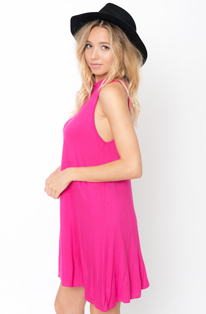 Fuchsia High neck tunic dress