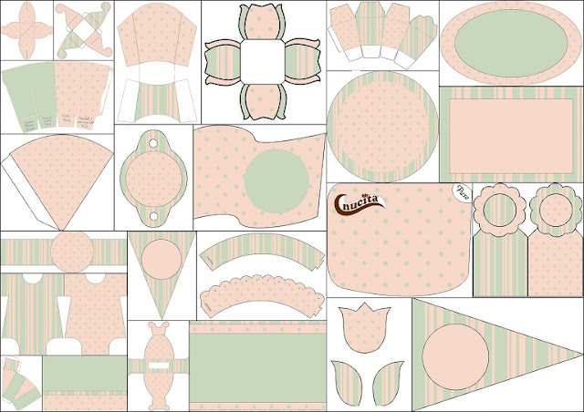 Stripes, Polka Dots, Mint and Pink Free Printable Kit.