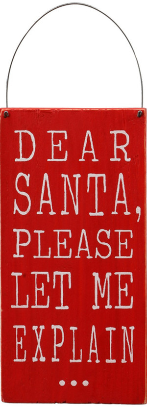 CREATIVE CO-OP 'Dear Santa, Please Let Me Explain' Wall Art