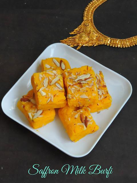 Saffron Milk Burfi, Kesar Kalakand